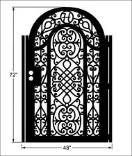 Metal Gate Custom Free Monogram Pedestrian Walk Thru Wrought Iron Garden Art 3x6