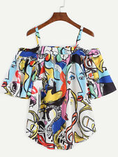 Multi Color Cold Shoulder Abstract Print Women's Tunic Top Shirt Blouse One Size