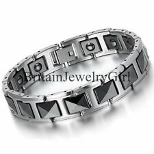Men's Biker Healthy Magnetic Black Ceramic Square Link Bracelet Tungsten Bangle