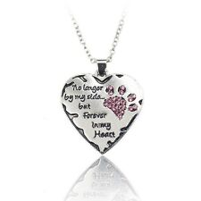 Pink Crystal Paw Print Forever in my Heart Charm Necklace Dog Cat Jewelry Gift