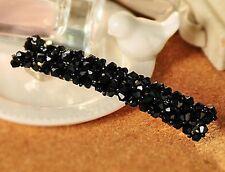 Accessoire mariage, bijou de cheveux , barrette pince - fleurs cristal noir