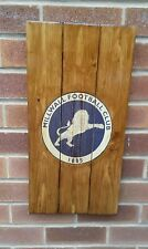 millwall  sign wooden wall art , plaque , badge handmade rustic mancave