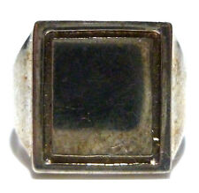 ESTATE MENS WOMENS SQUARE STERLING SILVER SIGNET CREST INITIAL SHIELD RING SZIE8