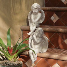 Peaceful Contemplation Baby Angel Sculpture Garden Putti Statue Set of Two