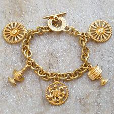 Guy Laroche Paris signed link Bracelet Vintage goldtone chain couture charm