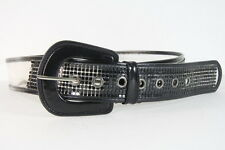 RETRO BLACK/ CLEAR METAL SQUARE STUD LARGE SUMMER BELT(32-39inch(SC53)