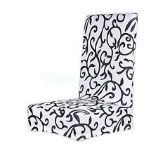 Elastic Floral Short Dining Room Stool Chair Seat Cover Slipcover White