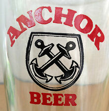 VINTAGE ANCHOR BEER GLASS Large English Wording  Malaysia