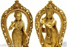 "NICE 16.5""H God Hindu Krishna & Radha Brass Statue Figures Tribal Art Pair 12 KG"