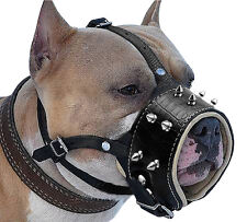 Spiked Leather Dog Muzzles No Biting Barking for Medium Large Dog Husky Labrador