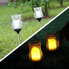 Set of 2 Solar Garden Crackle Clear Glass Ball Yard Flickering Candle light