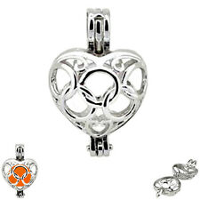 MERZIEs cage HEART circle ~6-8mm bead 24x15mm cage pendant 3.1g - SHIPs from USA