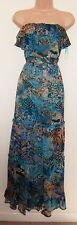 BE BEAU GREEN FRILL LEOPARD ANIMAL PRINT CHIFFON FLIPPY LONG MAXI DRESS 12 M