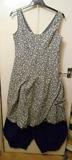 Vintage Monsoon Layering Lagenlook Grey-Blue Floral Tea Dress Balloon BNWT 14