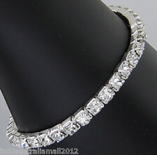 Women Lab Diamond Stainless Steel Silver Plated Stretchable Bracelet  (B115-1)
