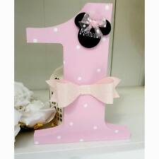 "minnie mouse wooden personalised 6"" wooden freestanding number plaque bedroom"