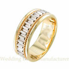 14K TWO TONE WHITE YELLOW GOLD TWISTED ROPE BRADED MEN WEDDING BAND RING
