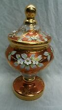 Beautiful vintage Bohemian glass gold red flower paint compote with lid