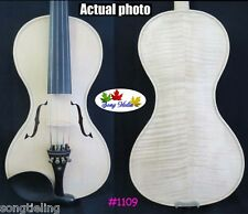 hand made flames maple Baroque style unfinished 4/4 violin,white violin #1109