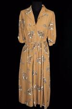 RARE PLUS SIZE 20+ VINTAGE LATE 1940'S CLASSIC SCENE BROWN SILKY RAYON DRESS