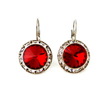 41A Contemporary Siam Red Swarovski Elements Leverback Earrings