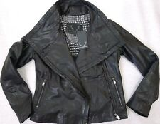 BOD & CHRISTENSEN Leather Hoodie Motorcycle Jacket Black Sz.L NWT WOW!