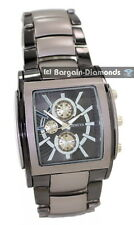 mens big gunmetal black clubbing square watch link bracelet