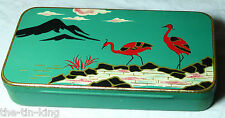 SPLENDID 1920S CRAWFORDS BISCUITS SAMPLE TIN JAPANESE SCENE STORKS MOUNTAINS