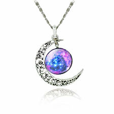 Heart Moon Alloy Galaxy Statement Necklaces Silver Chain Pendants Jewellry