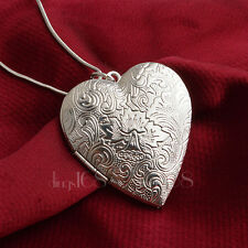 925 Sterling Silver Heart Shape Open Locket Wave Pendant + Necklace Chain D701