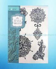 Black Ink Mehndi shoulder chest tats black lace henna feminine temporary tattoos
