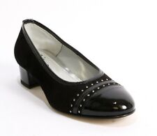 Gaja 5761 Black Suede / Patent Leather Rounded-Toe Block Heel Pump 39.5 / US 9.5