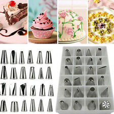 24 Icing Nozzles Set Piping Bag Stainless Steel Cake Decorating Pastry Tool keku