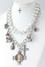 D21 Layered Silver White Pearl Portrait Angel Eiffel Cross Charm Necklace Set