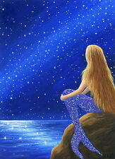 Mermaid fantasy stars night sky ocean limited edition aceo print art