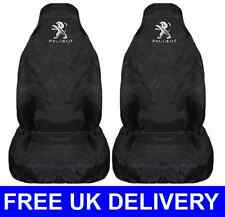 BLACK PAIR OF CAR SEAT COVERS PROTECTORS X2 WATERPROOF - FITS PEUGEOT 206