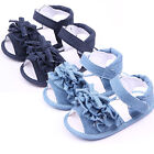 Kids Toddler Summer Sandals Girls Infant Baby Jeans Bow Crib Shoes Beach Flats