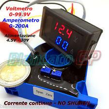 2IN1 DC AMPEROMETRO 0-200A CON SENSORE HALL VOLTMETRO 0-100V da pannello ammeter