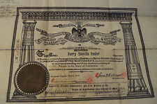 "Antique 1914 ""32nd DEGREE MASON"" Certificate~Signed by Eight 33rd Degree Masons~"