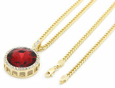 "Mens 14k Gold Plated Iced Out Red Cz Round Pendant Hip-Hop 30"" Cuban Chain M1"