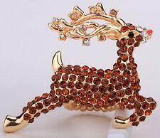 Santa's Brown Reindeer Deer Stretch Ring Crystal Rhinestone Animal Jewelry RA07