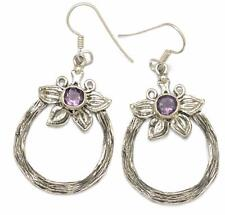 Natural Amethyst Israeli Earrings Solid 925 Sterling Silver Jewelry IE18339