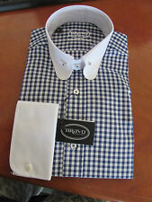 "MENS NAVY BLUE CHECK,  PENNY COLLAR,  PIN SHIRT  sizes 15"" to15.5"""
