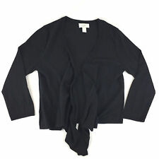 Ann Taylor LOFT S Black Open Cardigan Thin Knit Sweater Shrug 3/4 Sleeve