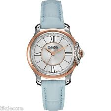 "Bulova Accu Swiss 65R158 ""BELLECOMBE"" Diamond Accented Leather Strap Watch"
