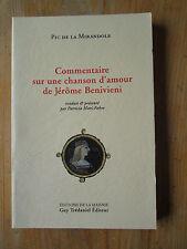 de la Mirandole Commentaire sur une chanson d'amour de Jérôme Benivieni