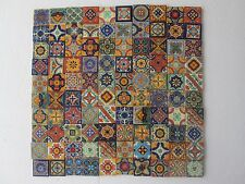 "SET with 100 TILES,  2 X 2""  Mexican mixed designs handcrafted ceramic clay"