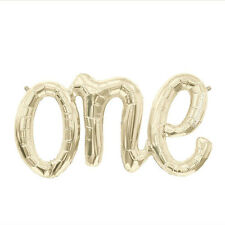 "Giant 30"" ""ONE"" White Gold Script Foil Balloon 30 inch Foil Balloon, Birthday"