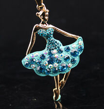 Betsey Johnson Crystal Enamel Ballet Girl Pendant Sweater Chain Necklace