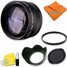 2.2X TELEPHOTO LENS +UV FILTER +HOOD  FOR CANON EOS REBEL T5 WITH 18-55MM L